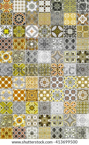 Ceramic tiles patterns from Portugal yellow tone - stock photo