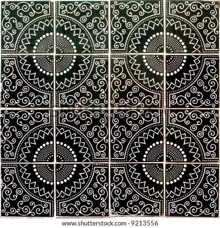 ceramic tiles seamless pattern - stock photo