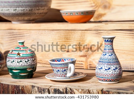 Ceramic Traditional Turkish pot and cup at Goreme market, Cappadocia, Turkey - stock photo