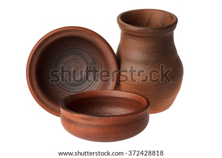 Ceramic utensils on a white background (three objects) - stock photo