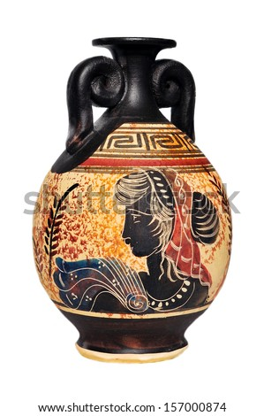 Ceramic vase from Greece isolated on white background.
