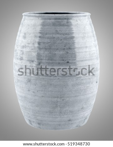 ceramic vase isolated on gray background. 3d illustration
