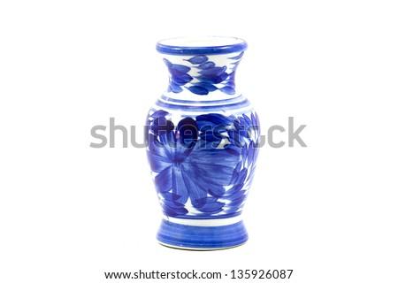 Ceramic vase on a white background.