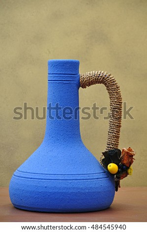 ceramic vases painted blue