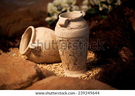 Ceramic vases pots clay jugs. Old traditional vintage pottery - decoration and craft - stock photo