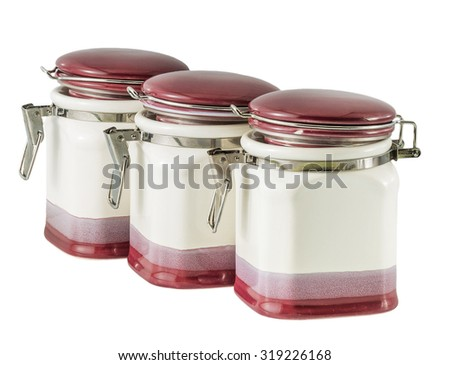 ceramic vessel for spices isolated on a white background
