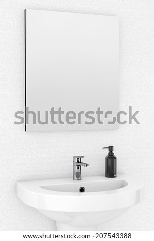 Ceramic Washbasin and Mirror in front of a Wall  - stock photo