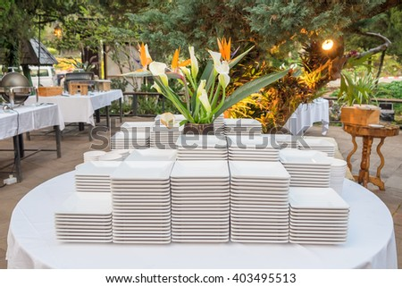 Ceramic white plate stacked on table for party in shady garden
