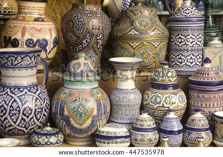 Ceramics on display in Fes medina Morocco
