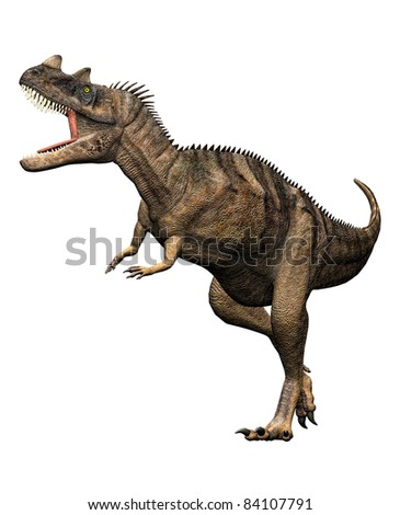 Ceratosaurus dinosaur full body attack mouth open howling. Predator, theropod, large head, short forelimbs, robust hind legs,  long tail. Late Jurassic Period. Isolated Illustration white background - stock photo