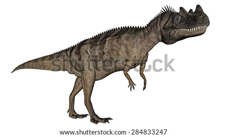 Ceratosaurus dinosaur walking isolated in white background - 3D render