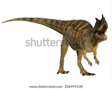Ceratosaurus on White - The Ceratosaurus is a horned theropod dinosaur found in North America from the Jurassic Period. - stock photo