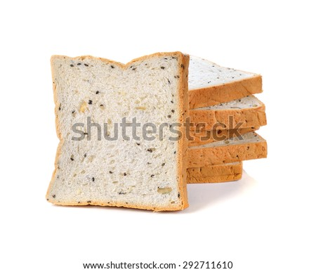 cereal and black sesame bread on white background - stock photo