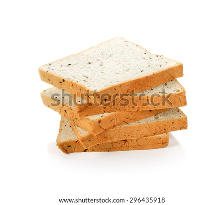 cereal and black sesame bread on white background