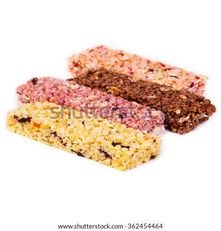 cereal bars, healthy muesli - isolated on white background - stock photo