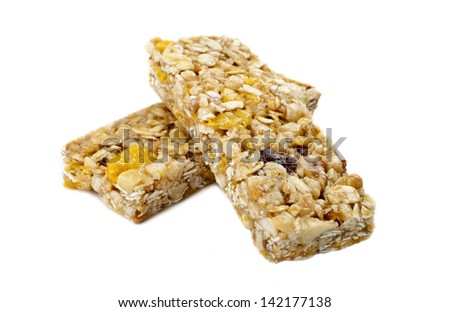 Cereal Bars over a white background. - stock photo