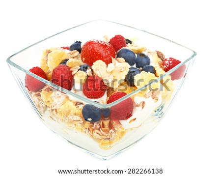 Cereal breakfast, isolated on white background