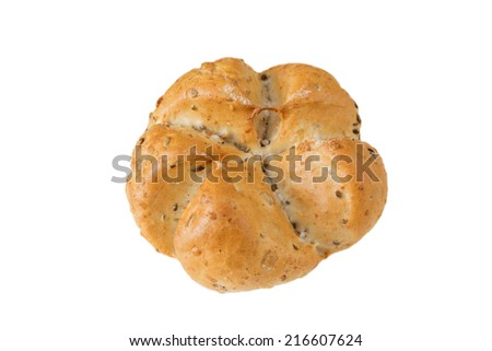Cereal bun isolated on a white background. - stock photo