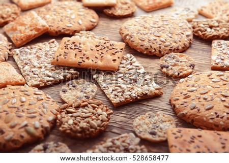 Cereal cookies on wooden background