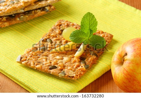 cereal crispy bread with apple - stock photo