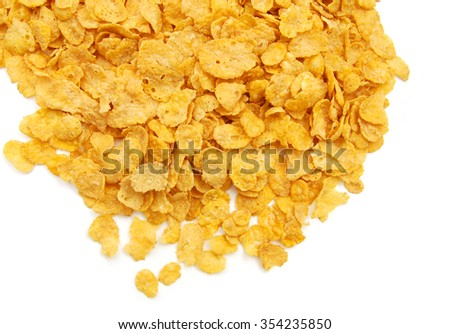 Cereal flakes on white background - stock photo