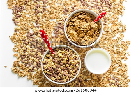 Cereal flakes with milk for breakfast. - stock photo