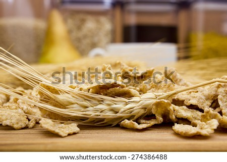 Cereal for breakfast is made from organic crops. - stock photo