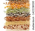Cereal Grains and Seeds : Rye, Wheat, Barley, Oat, Sunflower, Corn, Flax, Poppy, border closeup on white background - stock photo