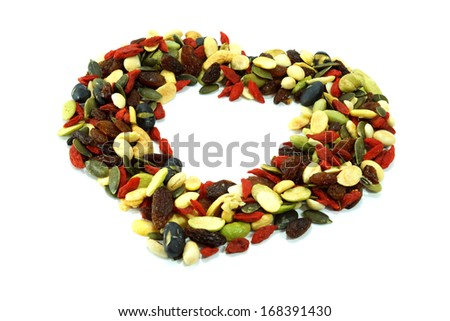 Cereal Grains , Seeds, Beans, close up isolated on white background - stock photo