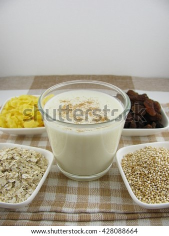 Cereal ingredients with milk - stock photo