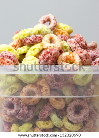 Cereal loops in box closeup - stock photo