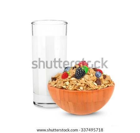 cereal muesli and milk - stock photo