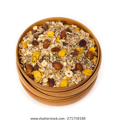 Cereal (Muesli) on a white background. Selective focus. - stock photo