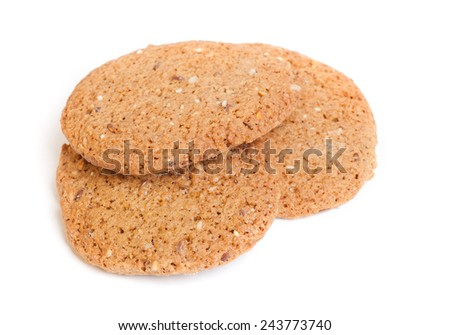 Cereal oatmeal cookies isolated on white background - stock photo