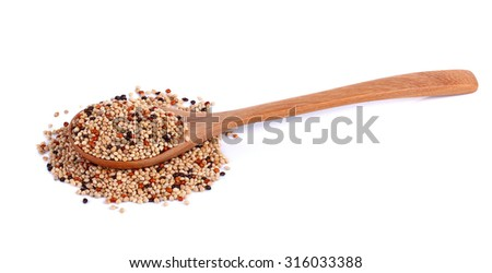 Cereal on a spoon isolated on  white background. - stock photo