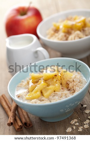 cereal with apple - stock photo