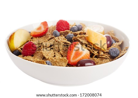 cereal with fruits, berries, nuts - stock photo