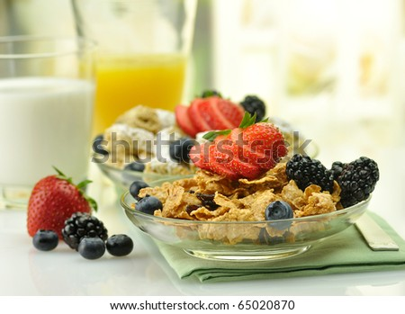 cereal with fruits ,milk and juice - stock photo