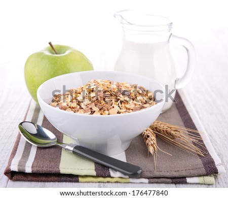 cereals and milk - stock photo