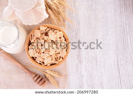 cereals ,milk and honey - stock photo