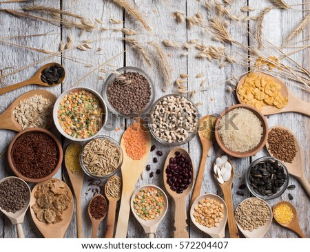 Cereals on wooden background