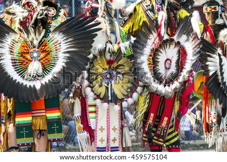 Ceremonial feathered headdresses shown at the Julyamsh Powwow in Coeur d'Alene, Idaho.
