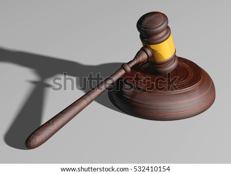 Ceremonial mallet or gavel. With the force of the law, art concept. 3D Rendering.