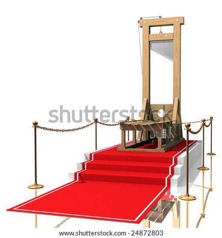 Ceremonial red carpet directing to a guillotine. - stock photo