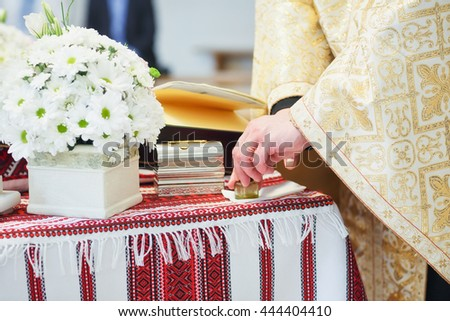 Ceremony in cathedral church - stock photo