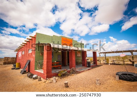 Ceres, South Africa - circa November 2011, the Tankwa Farmstall, a famous Karoo Desert shop, is seen against a cloudy sky in this colour image