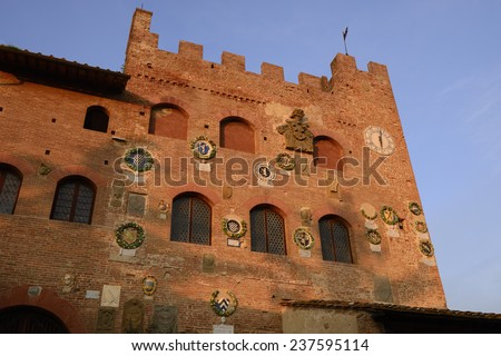 Certaldo Alto is a typical historical tuscan village - stock photo