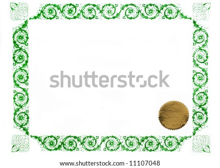 certificate border and gold stamp, blank for text