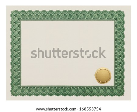 Certificate Degree with Gold Seal Isolated on White Background. - stock photo
