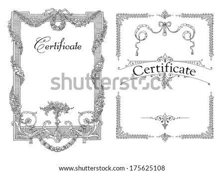 Certificate, Diploma of completion (design template) - stock photo